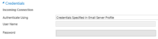 credentials fields disabled